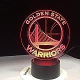 Nba Golden State Warriors 3D Led Veilleuse 7 Couleurs Changeantes Table de Couchage Bureau Lampe Lampe Chambre...