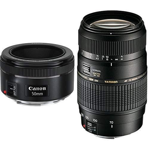 Canon EF 50 mm f/1.8 STM Objektiv, schwarz & Tamron AF 70-300mm 4-5,6 Di LD Macro 1:2 digitales Objektiv (62mm Filtergewinde) für Canon (Objektiv Canon 300)