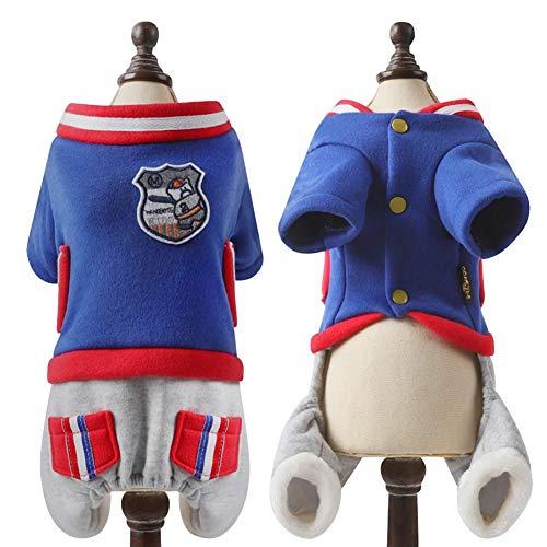 Feidaeu Ropa para Mascotas Umpsuit Sportwear Antibacteriano Anti-Pelota para Perros pequeños, medianos, Gatos, Azul y Rojo