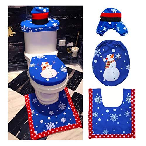 Weiqiao® 3 Stück Weihnachtsdekoration Toilette aus Flanell Motiv Weihnachtsmann Bezug für Toilettensitz/Wohnzimmerteppich/Deckel (Schnurrbart Tischdecke Runde)