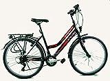 breluxx® 24 Zoll Damenfahrrad Mädchenrad Citybike Black - 21 Gang Shimano + Beleuchtung