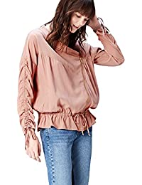 FIND Women's Ruched Sleeve Cotton Utility Jacket