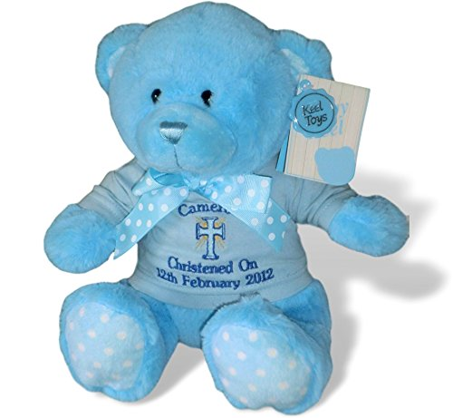 """Holy Bears /""""It/'s A Boy/"""" 9 inch height blue bear with bible verse in hang tag   5"""