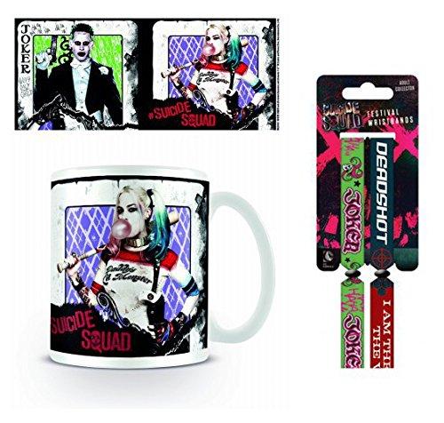 Set: Escuadrón Suicida, Harley Quinn Y Joker, Cartas De Juego Taza Foto (9x8 cm) Y 1 Escuadrón Suicida, Pulsera (10x2 cm)