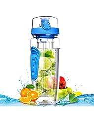 Botella de Agua de Tritan de 900ml con Infusor de Esencia de Frutas sin BPA,Omorc Botella de Agua Deportiva Reutilizable de Plastico con Filtro Protector Libre de Toxinas,Resistente a los Golpes y al Impacto,se Incluye un Cepillo de Limpieza-Azul
