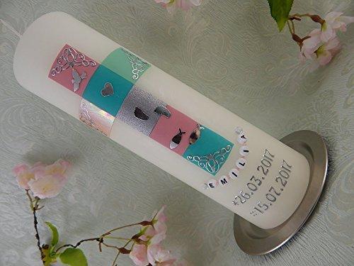 rn bunt Mosaik Taufsymbole Taufkerzen Junge Mädchen 250/70 mm mit Beschriftung ()