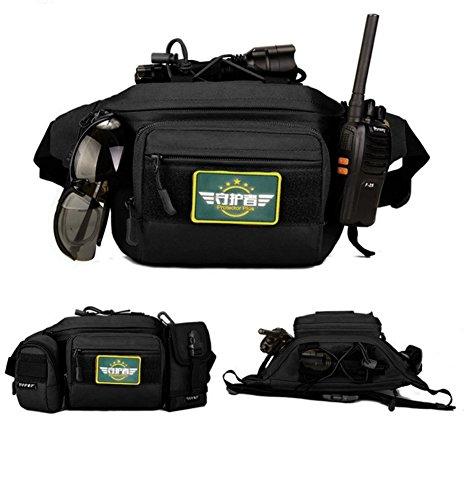 Ges marsupio marsupio da spalla cintura sacchetto con impermeabile tattico militare per outdoor trekking campeggio corsa arrampicata, Wolf Brown Black