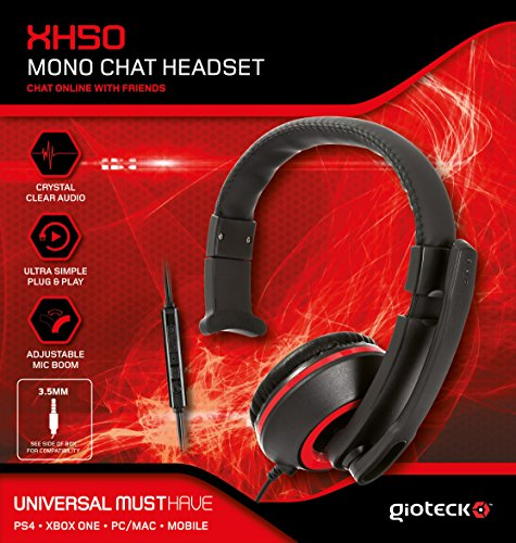Gioteck - XH-50 Mono Chat Headset, Color Rojo (PC, Mac)