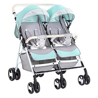 Twin stroller zxmpfg Cochecito de bebé Doble, Ligero y fácil de Plegar, con Sistema de Seguridad de Cinco Puntos y Asiento reclinable de múltiples Posiciones, Gran Canasta de Almacenamiento