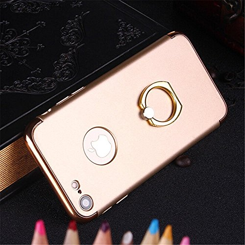 UrCool 3 in 1 Ultra Thin and Slim Coated Premium Non Slip Matte Surface Electroplate Frame Plating Metal Texture Skin Hard Case Protector Cover With Ring Holder Stand for iPhone 7 Gold Ring 3in1 iPhone 7 Rose Gold