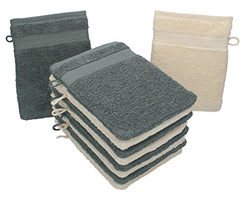 Betz Lot de 10 gants de toilette taille 16x21 cm 100% coton Premium couleur beige, gris anthracite
