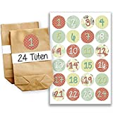 DIY Adventskalender Set - 24 braune Geschenktüten und 24 bunte Zahlenaufkleber - zum selber machen und befüllen - Mini Set 24 von Papierdrachen