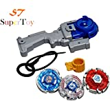 """SuperToy(TM) 3 """" Metal """" Beyblade Set With Handle Launcher Fighters"""