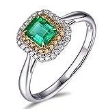 Epinki 18K Gold Damen Ringe Quadrat Solitärring Verlobungsringe Silber mit Weiß Grün Diamant Smaragd Gr.54 (17.2)
