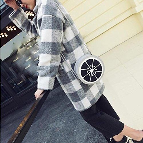 Koly_Le donne di moda mini circolare Tracolla Borsa in pelle Body Bag Grigio