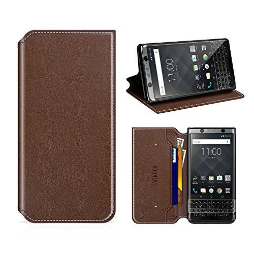 Swingga BlackBerry KEYone Hülle, Handyhülle Premium Leder Tasche Flip Case Schutzhülle für BlackBerry KEYone,Kaffee braun