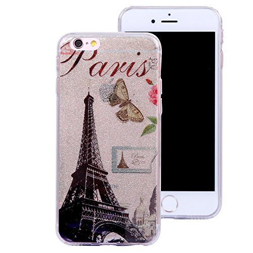 Coque iPhone 6, Coque iPhone 6S, iPhone 6 6S Coque Glitter Paillettes Etui, BONROY® Housse Silicone Portable Premium Case Cover pour iPhone 6 6S, Modèle créatif clair et adorable Ultra-Fine Souple Gel Tour