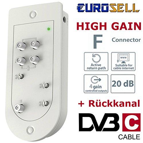 Eurosell CATV Kabel Viergeräteverstärker Digital TV Verstärker 20dB 4 Ausgänge + Verstärkungsregelung + Rückkanal für Internet Smart TV