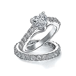 Bling Jewelry Sterling Silver CZ Pave Heart Engagement Wedding Ring Bridal Set