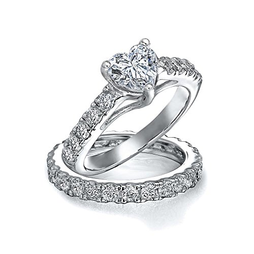 Bling Jewelry Sterling Silver CZ pavimenta il cuore di fidanzamento Wedding Ring