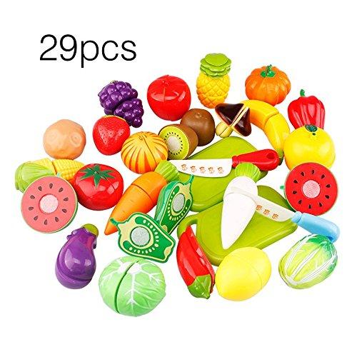 Ballylelly 29 UNIDS/JUEGO Único Niños Niños Corte Fruta Vegetales Alimentos Jugar Juguetes de Cocina (Color: multicolor mezclado)