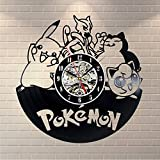 Pokemon Éclairage LED Horloges Murales en Vinyle Mignon De Bande Dessinée Fée Classique 3D Décoratif Horloge Suspendue pour La Décoration de La Maison
