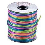2mm Rattail Satin Cord - Rainbow - 10m