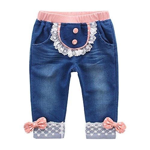 Baby Mädchen Jeanshose Kinder Baumwolle Denim Jeans Spitze Schleife Dekor Rosa - 80