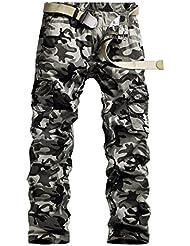Panegy - Pantalones Largos Trabajo para Hombre de Cargo Múltiples Bolsillos de algodón Ocasiones al aire libre Resistente - Talla ES 40 42 44 46 48 50 - Camuflaje caqui gris blanco