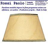 Paolo Rossi Lampenschirm - konische imitat alten Pergament mit Gold-Finish - Eigene Produktion (made in Italy) (Durchmesser cm 40)