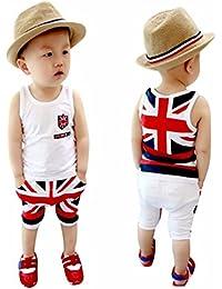 Koly Niños bebés bandera del Reino Unido trajes Chaleco Tops Pantalones Set Ropa
