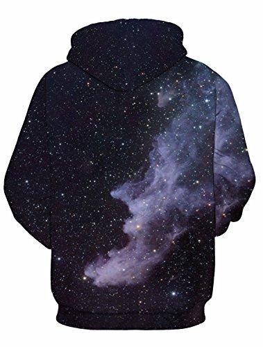 Nawoshow Unisex 3D Druck Kapuzenpullover Hoodie Sweatshirt Langarm Top Shirt Herbst Spaß Pullover für Männer und Frauen Galaxy F