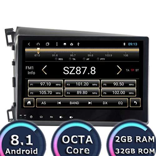 ROADYAKO Android 8.1 Unité Principale pour Honda Civic 2012 2013-2014 Navigation GPS de Voiture Radio Radio Player Octa Core 32 Go ROM 2 Go de RAM WiFi 3G RDS Lien Miroir FM AM Bluetooth