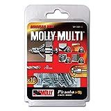Molly M100810-XJ Molly Multi Chevilles métal avec vis agglo Ø 4 x 37 mm, Gris, Set de 10 Pièces