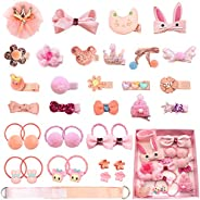 Baby Girl's Hair Clips Cute Hair Bows Baby Elastic Hair Ties Hair Accessories Ponytail Holder Hairpins Set