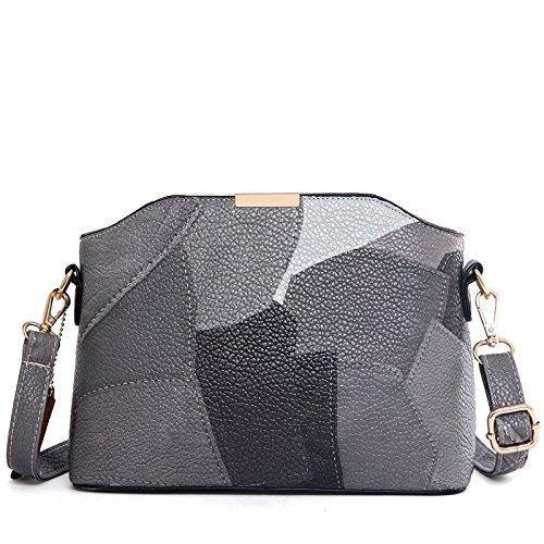 Mefly Borsa da donna in pelle cucitura Europa nuova borsa Classic Ladies grigio