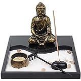 Tableau Jardin Zen Méditation Statuette de Bouddha Bougie et Encens Décoration et Ambiance