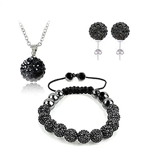 Black Crystal 925 Sterling Silver Shamballa Necklace, Stud Earrings and Bracelet Set 10mm Comes with FREE ORGANZA BAG