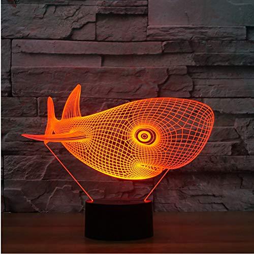 3D Nachtlichter 3D Led Visuelle Neuheit 7 Bunte Lampe Großer Kopf Cetacean Beleuchtungsvorrichtung Whale Schreibtischlampe Nacht Dekor Baby Schlaf Nachtlicht