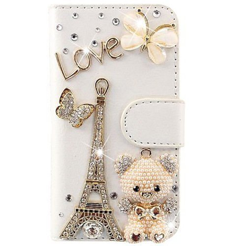 ZeWoo Folio Ledertasche - C018 / Love Eiffel + Bär + Schmetterling - für Samsung Galaxy Trend S7560 / Trend Plus S7580 (NICHT FÜR Galaxy Trend Lite S7390 / S7392) PU Leder Tasche Brieftasche Case Cover