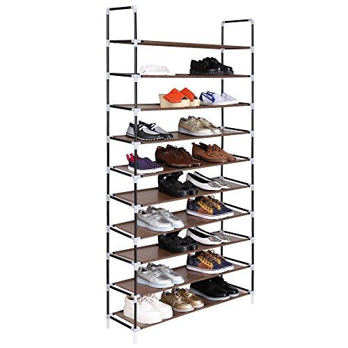 BATHWA Montage Schuhregal 10 Schichten Schuhregal erweiterbare Höhe mit Textilgewebe (Schwarz und Braun)