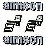 Set: Aufkleber - Klebefolie für Simson S51 B Silber für Tank und Seitendeckel