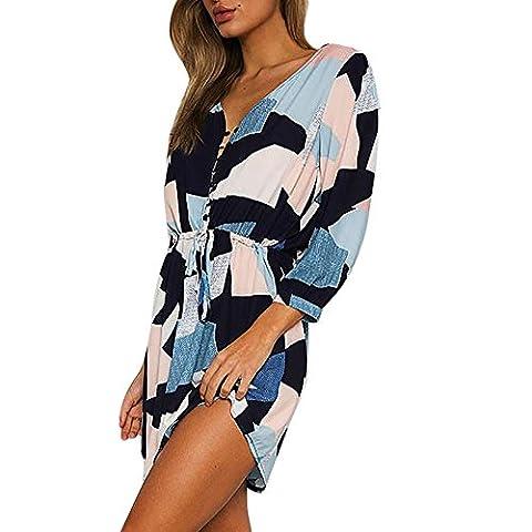 Amlaiworld mode Geometrischer Druck kleider damen elegant Knopf Hemd Kleid Niedlich (M, Blau)