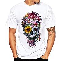 Hombre camiseta,Sonnena ❤️ ❤️ ❤️ Blanco camiseta de verano Patrón de cráneo manga corta casual y ropa ropa de Actividades al aire libre (BLANCO, L)