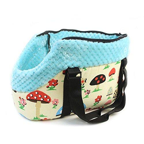 owikar tragbar Pet Carrier Handtasche mit Reißverschluss Kleines Medium Pet Dog Puppy Cat Travel Outdoor Hundetasche Schulter Tasche Soft Warm Blau Muster bedruckt Geldbörse (Geprüft Blauen Kleid)