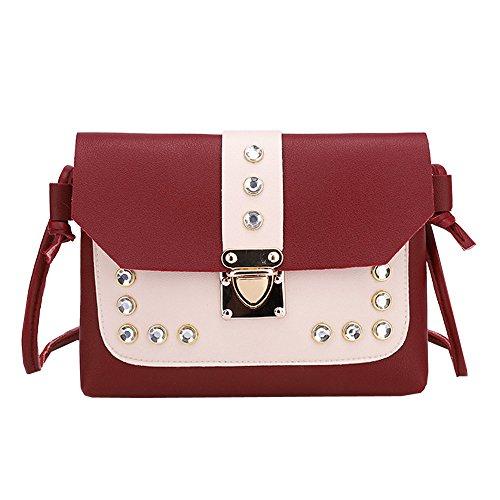 TianWlio Frauen Handtasche Schlagen Sie die Farbe Strass Umhängetasche Messenger Satchel Tote Umhängetasche rot