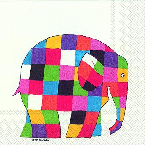 ideal-home-range-serviettes-en-papier-motif-de-20-elmer-lelephant-blanc-33-cm-carre