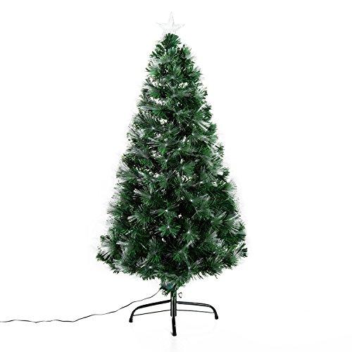 Outsunny HOMCOM Albero di Natale Artificiale 120cm in PVC Fibre Ottiche Foltissimo con 130 Luci a LED Φ66 Verde