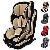 Clamaro 'Guardian Isofix 2018 Set' Kinderautositz 9-36 kg mit ISOFIX inkl. Autositzschoner, Kopfstütze verstellbar mitwachsend, Auto Kindersitz für Kinder von 1-12 Jahre, Gruppe 1/2/3, ECE R44/04, Farbe: Beige Schwarz