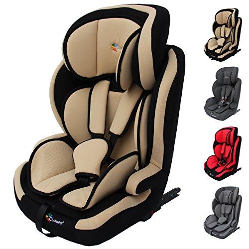 Clamaro \'Guardian Isofix 2018 Set\' Kinderautositz 9-36 kg mit ISOFIX inkl. Autositzschoner, Kopfstütze verstellbar mitwachsend, Auto Kindersitz für Kinder von 1-12 Jahre, Gruppe 1/2/3, ECE R44/04, Farbe: Beige Schwarz